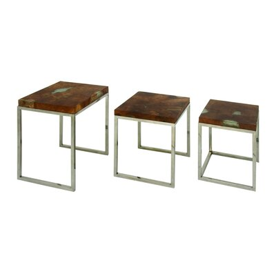 Teak/Stainless Steel 3 Piece End Table Set