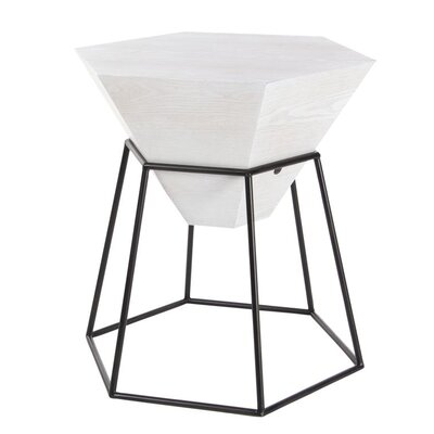 Wood/Metal Hexagon End Table Finish: Matte White
