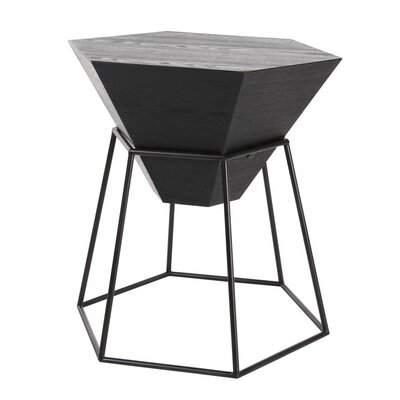 Wood/Metal Hexagon End Table Finish: Stained Black
