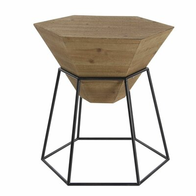 Wood/Metal Hexagon End Table Finish: Stained Brown
