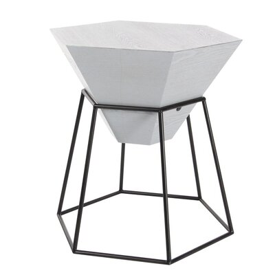 Wood/Metal Hexagon End Table Finish: Matte Gray