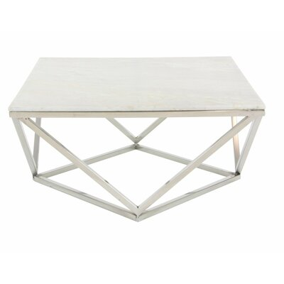 Stainless Steel/Marble Square Coffee Table