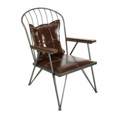 Metal Wood Leather Arm Chair
