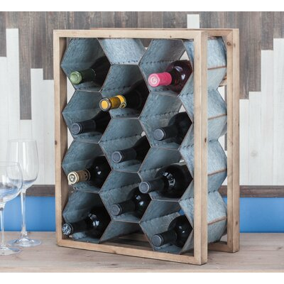 Wood/Metal 11 Tabletop Wine Bottle Rack