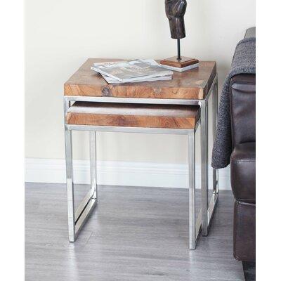 Teak/Stainless Steel 3 Piece End Table Set