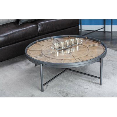 Metal/Wood Clock Coffee Table