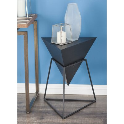 Wood/Metal Triangle End Table Color: Matte Black