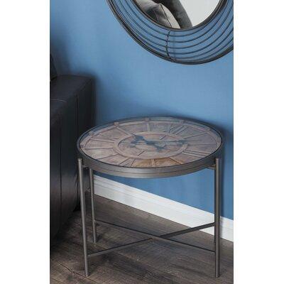 Metal/Wood Clock End Table