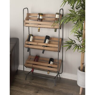 Wood/Metal 18 Bottle Floor Wine Rack