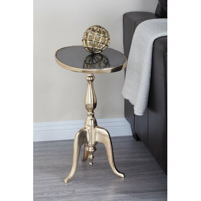 Aluminum/Marble Oval End Table Top Color: Black