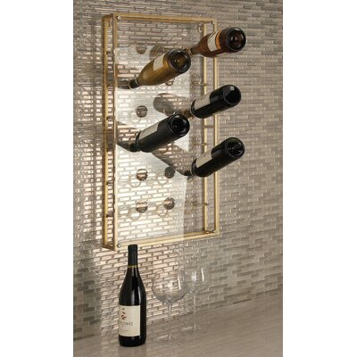 18 Bottle Wall Mounted Wine Bottle Rack Finish: Gold