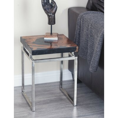Teak/Metal 2 Piece End Table Set