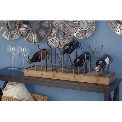 Metal/Wood 7 Bottle Tabletop Wine Rack
