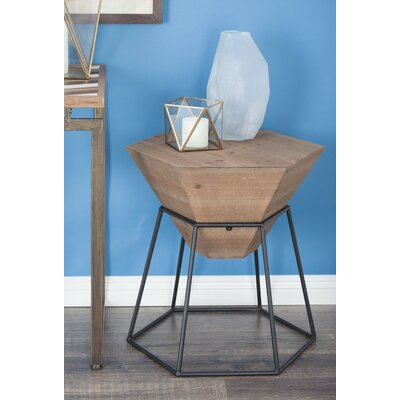 Wood/Metal Hexagon End Table Color: Stained Brown