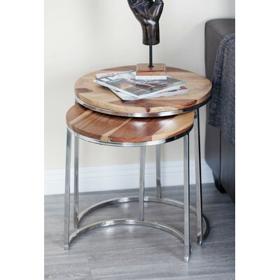 Wood/Stainless Steel 3 Piece Nesting Tables