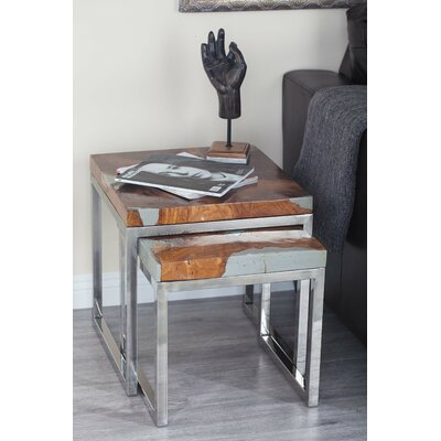 2 Piece Teak Aluminum End Table Set Color: Gray