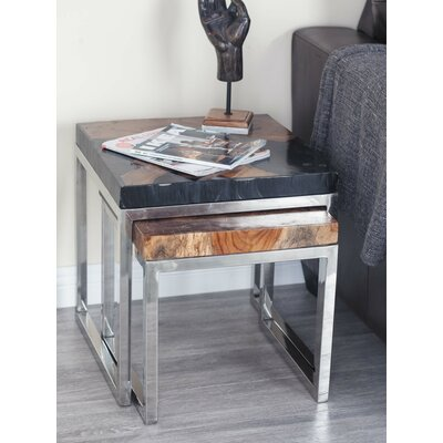 2 Piece Teak Aluminum End Table Set Color: Black