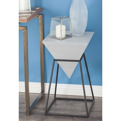Wood/Metal Diamond End Table Color: Matte White