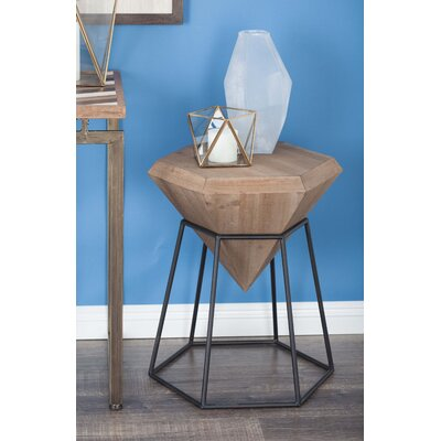Wood/Metal Diamond End Table Color: Stained Brown