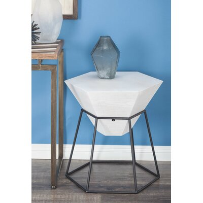Wood/Metal Hexagon End Table Color: Matte White