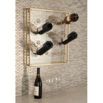 16 Bottle Wall Mounted Wine Bottle Rack Finish: Gold