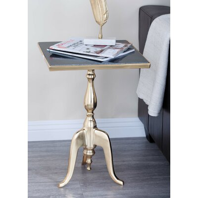 Aluminum/Marble Square End Table