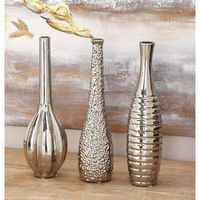 Stoneware Table Vase Set Color: Silver WRLO2016 43228686
