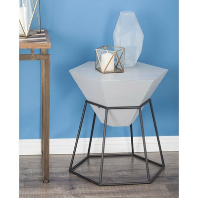 Wood/Metal Hexagon End Table Color: Matte Gray