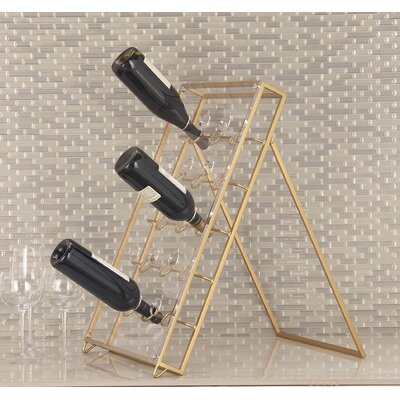 15 Bottle Tabletop Wine Bottle Rack Finish: Gold
