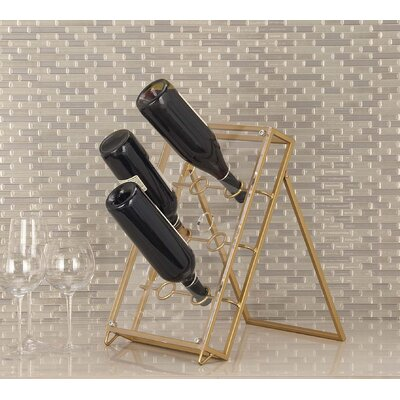 6 Bottle Tabletop Wine Bottle Rack Finish: Gold