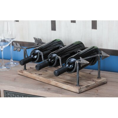 Wood/Metal 3 Tabletop Wine Bottle Rack