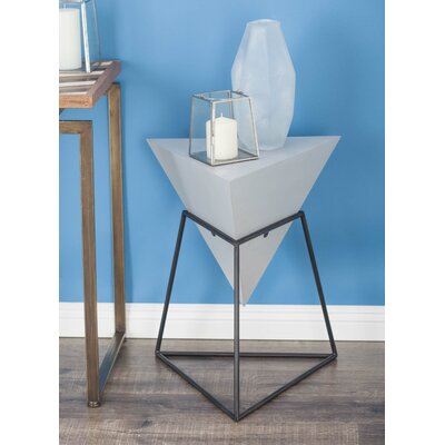 Wood/Metal Triangle End Table Color: Matte Gray