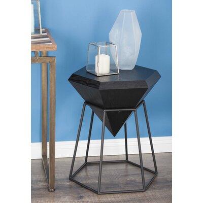 Wood/Metal Diamond End Table Color: Matte Black