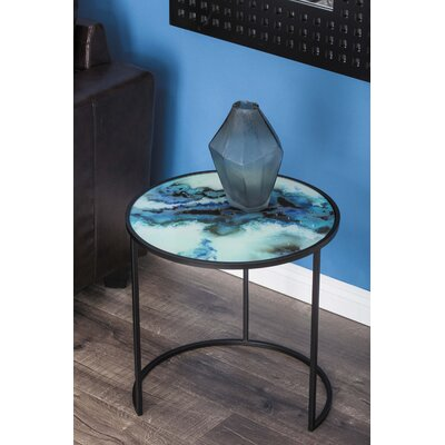 Metal/Glass 2 Piece Nesting Tables