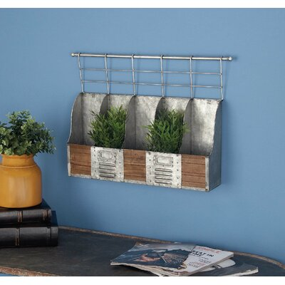 Metal/Wood 5 Bottle Wall Mounted Wine Bottle Rack