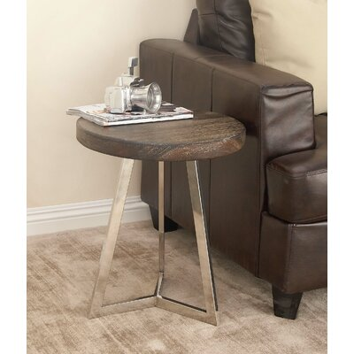 Stainless Steel/Wood End Table Color: Black