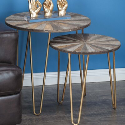 2 Piece Metal/Wood End Table Set