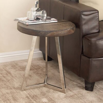 Stainless Steel/Wood End Table Finish: Black