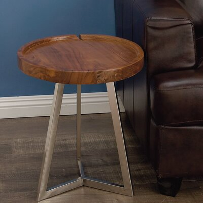 Stainless Steel/Wood End Table Finish: Brown
