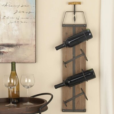 Wood/Metal 4 Bottle Wall Mounted Wine Rack