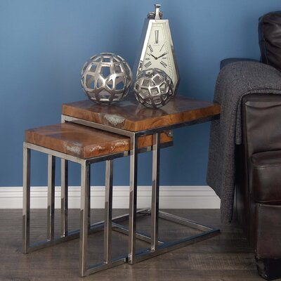 Teak/Stainless Steel 2 Piece End Table Set