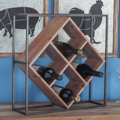 Metal/Wood 4 Bottle Tabletop Wine Rack