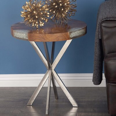 Teak/Stainless Steel End Table