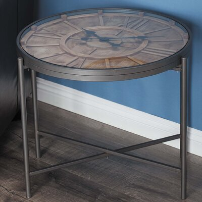 Metal/Wood Clock End Table