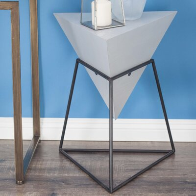 Wood/Metal Triangle End Table Finish: Matte Gray
