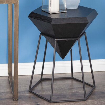 Wood/Metal Diamond End Table Finish: Matte Black