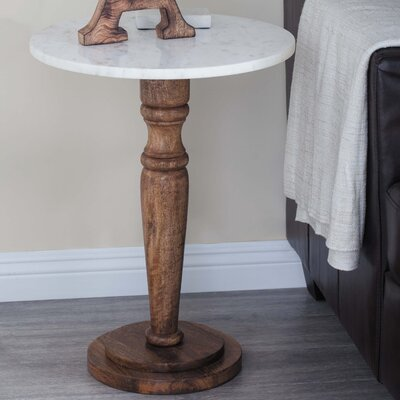 Wood/Marble End Table Finish: Light Brown