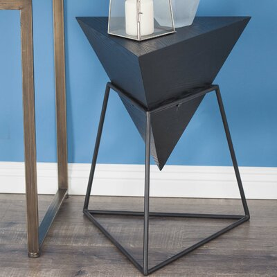 Wood/Metal Triangle End Table Finish: Matte Black