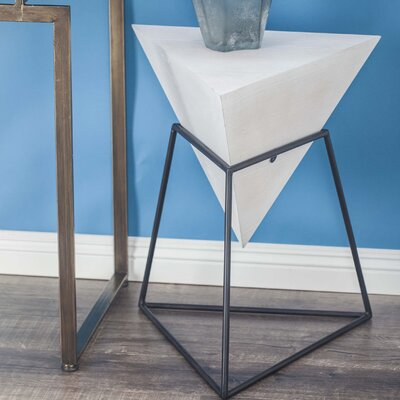 Wood/Metal Triangle End Table Finish: Matte White