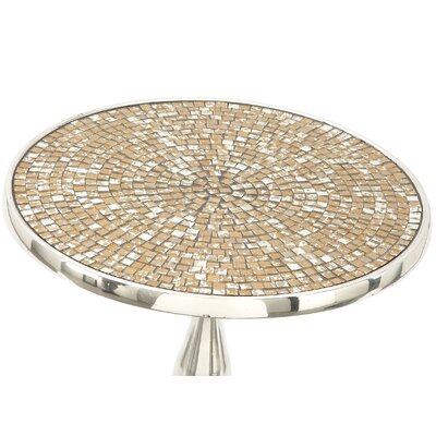 Aluminum and Glass Mosaic Round End Table